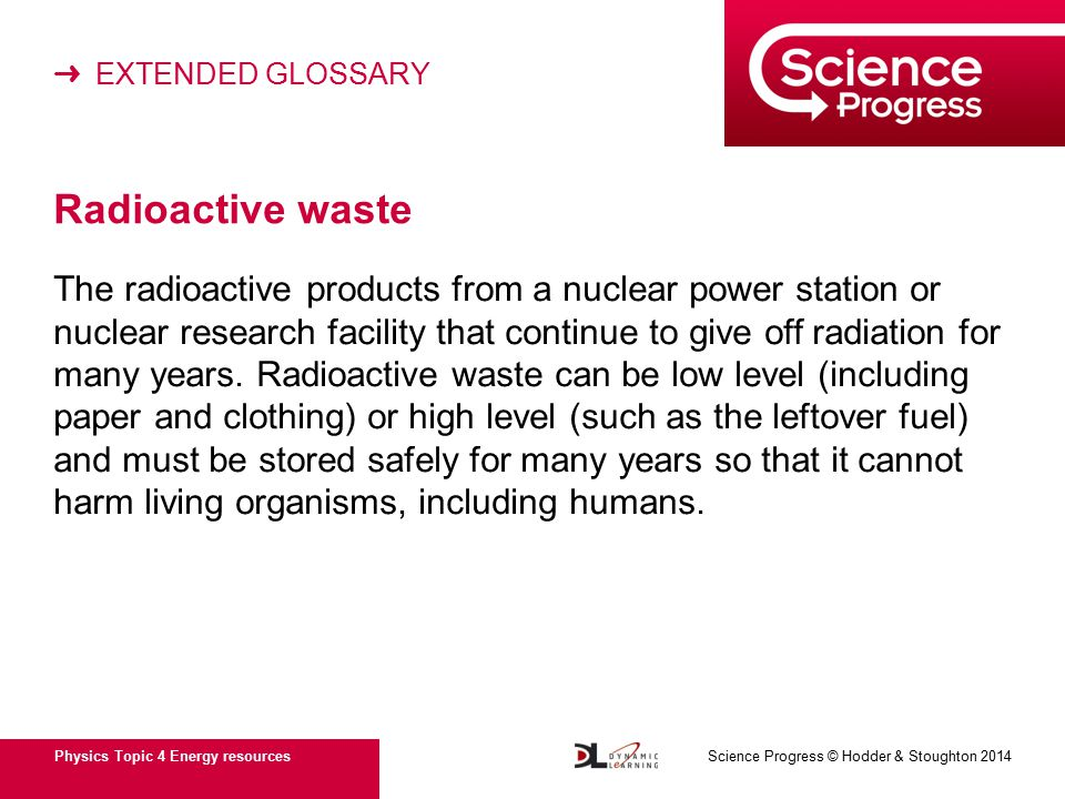 ➜ EXTENDED GLOSSARY Physics Topic 4 Energy resources Science Progress © Hodder & Stoughton 2014 Radioactive waste The radioactive products from a nuclear power station or nuclear research facility that continue to give off radiation for many years.