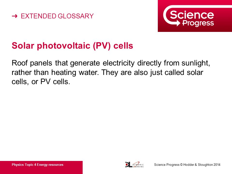 ➜ EXTENDED GLOSSARY Physics Topic 4 Energy resources Science Progress © Hodder & Stoughton 2014 Solar photovoltaic (PV) cells Roof panels that generate electricity directly from sunlight, rather than heating water.