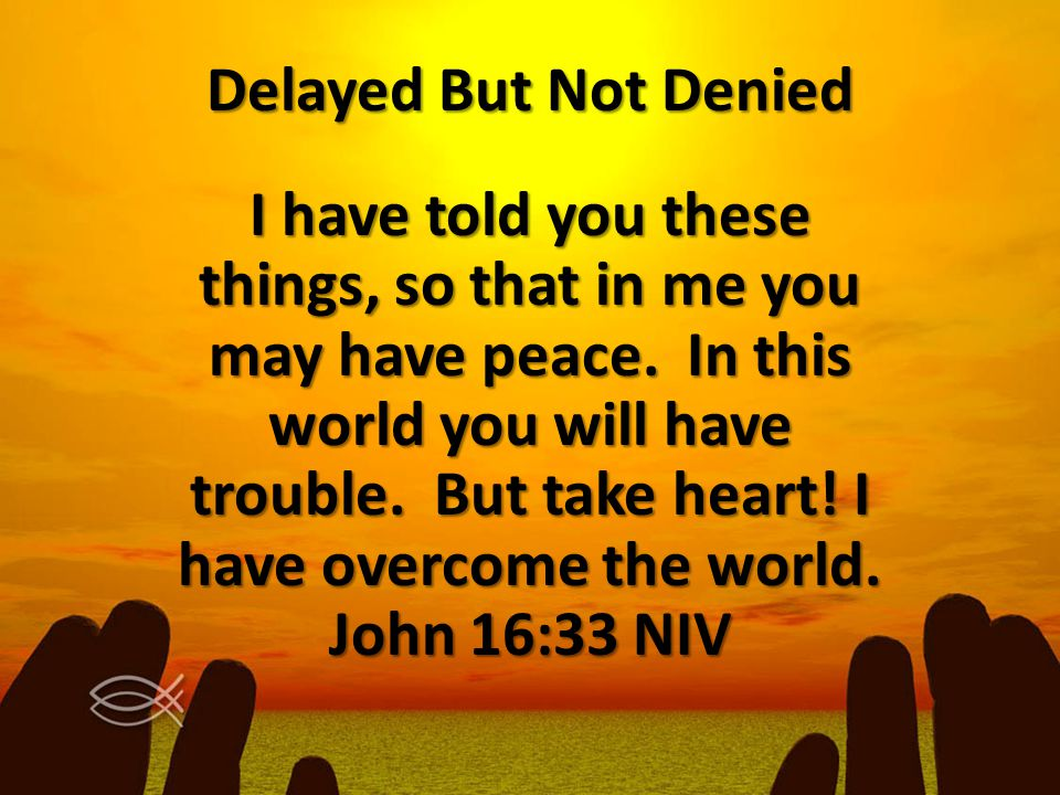 I have told you these things, so that in me you may have peace. In this world you will have trouble. But take heart! I have overcome the world. John 1