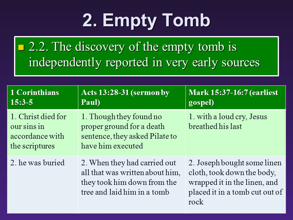 2. Empty Tomb 2.2. The discovery of the empty tomb is independently reported in very early sources 2.2. The discovery of the empty tomb is independent