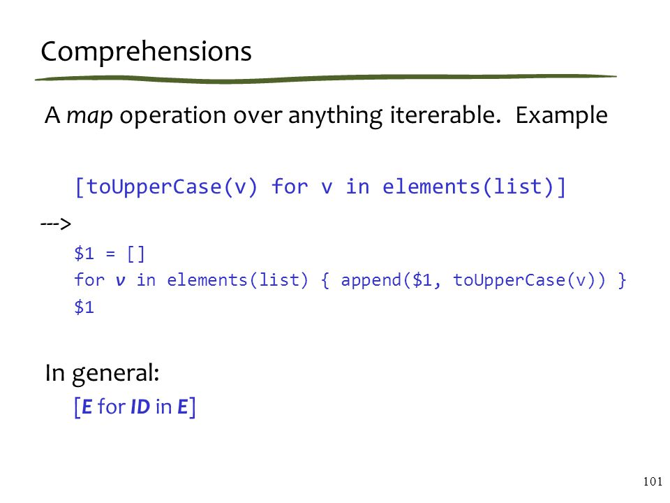 Comprehensions A map operation over anything itererable.