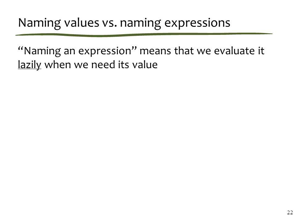 Naming values vs.