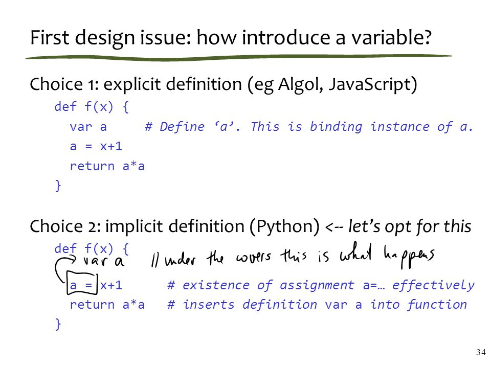 First design issue: how introduce a variable.