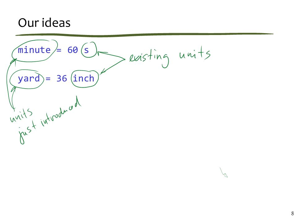 Our ideas minute = 60 s yard = 36 inch 8