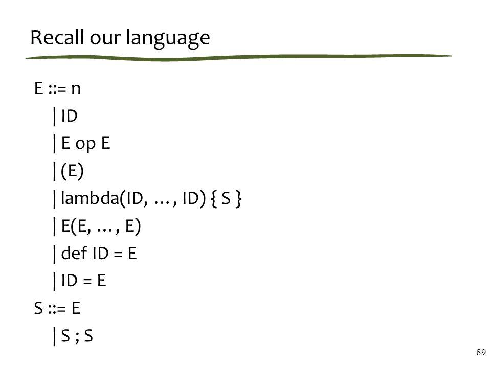 Recall our language E ::= n   ID   E op E   (E)   lambda(ID, …, ID) { S }   E(E, …, E)   def ID = E   ID = E S ::= E   S ; S 89