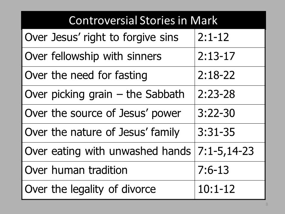 Controversial Stories in Mark Over Jesus' right to forgive sins2:1-12 Over fellowship with sinners2:13-17 Over the need for fasting2:18-22 Over picking grain – the Sabbath2:23-28 Over the source of Jesus' power3:22-30 Over the nature of Jesus' family3:31-35 Over eating with unwashed hands7:1-5,14-23 Over human tradition7:6-13 Over the legality of divorce10:1-12 8