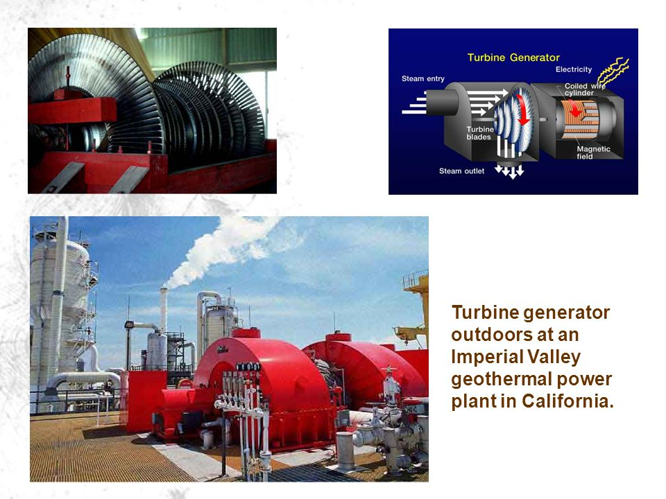 Turbine generator outdoors at an Imperial Valley geothermal power plant in California.