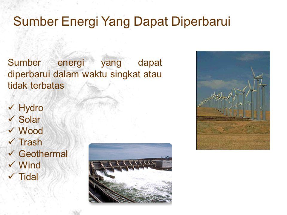 Sumber Energi Yang Dapat Diperbarui Sumber energi yang dapat diperbarui dalam waktu singkat atau tidak terbatas Hydro Solar Wood Trash Geothermal Wind Tidal