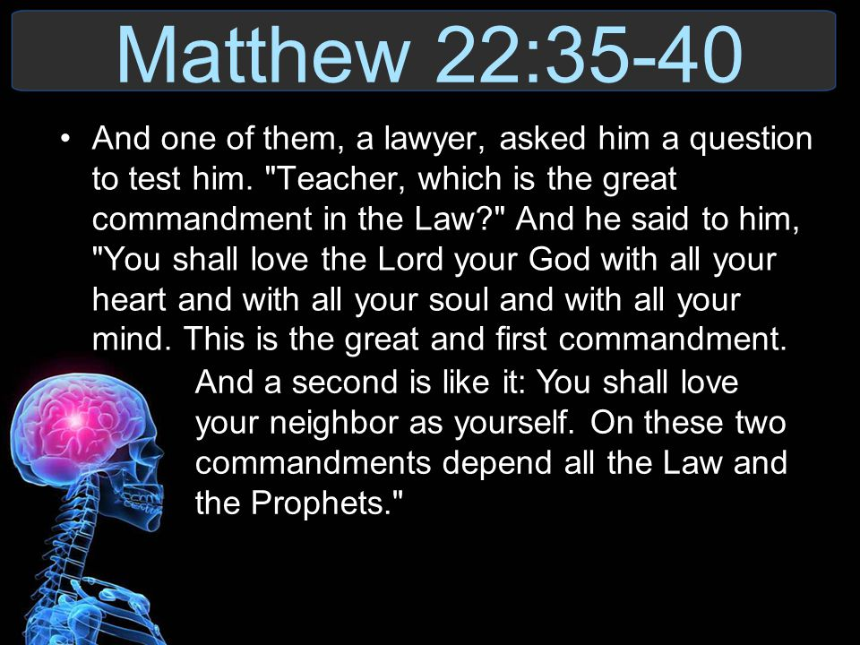 Matthew 22:35-40 And one of them, a lawyer, asked him a question to test him.