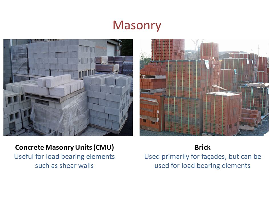 Masonry Concrete Masonry Units (CMU) Useful for load bearing elements such as shear walls Brick Used primarily for façades, but can be used for load b