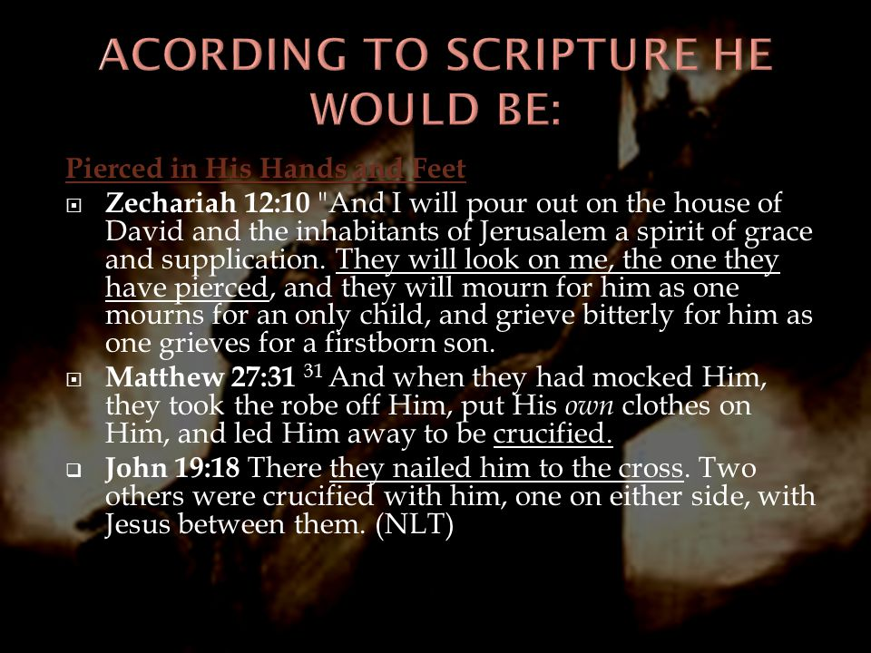 Pierced in His Hands and Feet  Zechariah 12:10 And I will pour out on the house of David and the inhabitants of Jerusalem a spirit of grace and supplication.