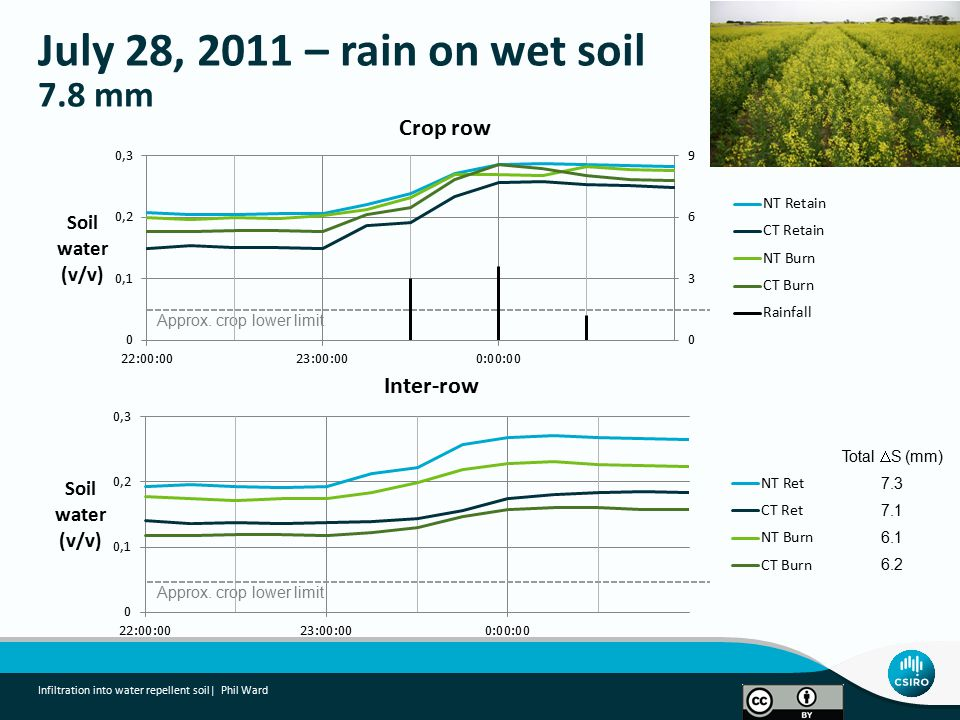 July 28, 2011 – rain on wet soil 7.8 mm Infiltration into water repellent soil| Phil Ward Approx.
