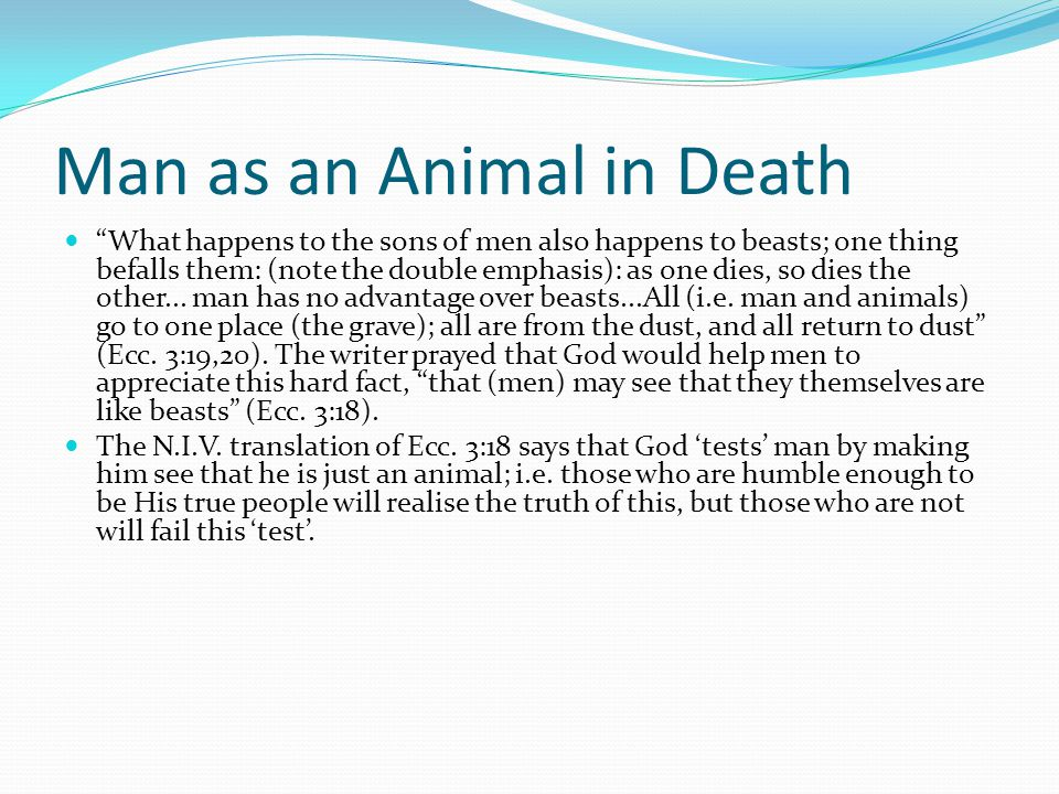 """Man as an Animal in Death """"What happens to the sons of men also happens to beasts; one thing befalls them: (note the double emphasis): as one dies, so"""