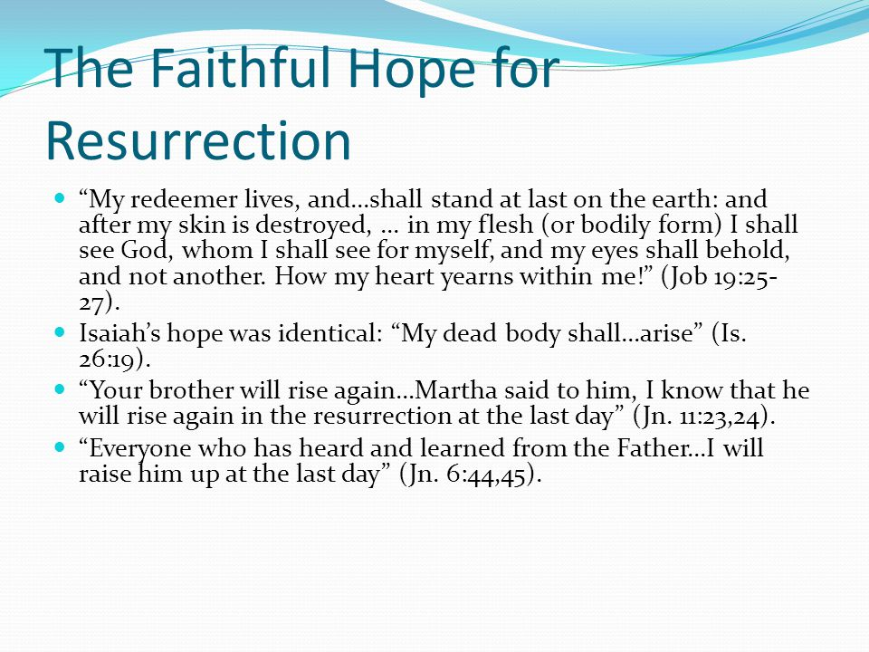 """The Faithful Hope for Resurrection """"My redeemer lives, and...shall stand at last on the earth: and after my skin is destroyed,... in my flesh (or bodi"""