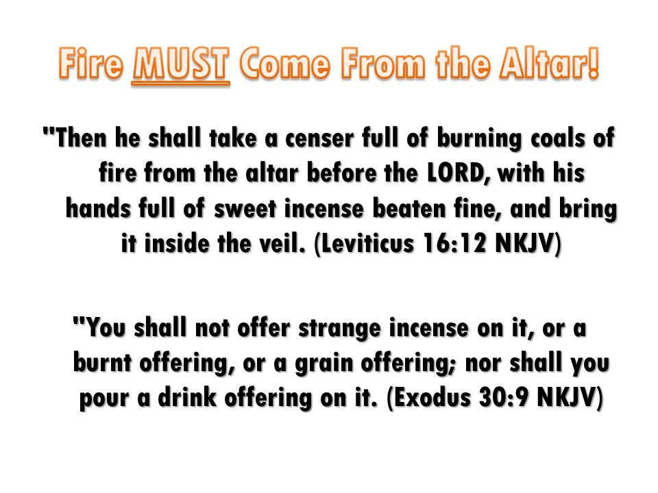Then he shall take a censer full of burning coals of fire from the altar before the LORD, with his hands full of sweet incense beaten fine, and bring it inside the veil.