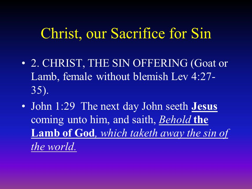 Christ, our Sacrifice for Sin 2. CHRIST, THE SIN OFFERING (Goat or Lamb, female without blemish Lev 4:27- 35). John 1:29 The next day John seeth Jesus