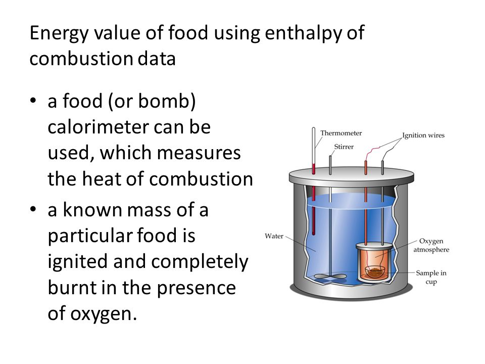 energy contained in the food can be calculated using the following equation: q = mcΔT – q = heat evolved (J) – m = mass of water (g) – c = specific heat capacity of water (4.18 J g −1 K −1 or 4.18 J g −1 °C −1 ) – Δ T = temperature change of the water (in °C or K)