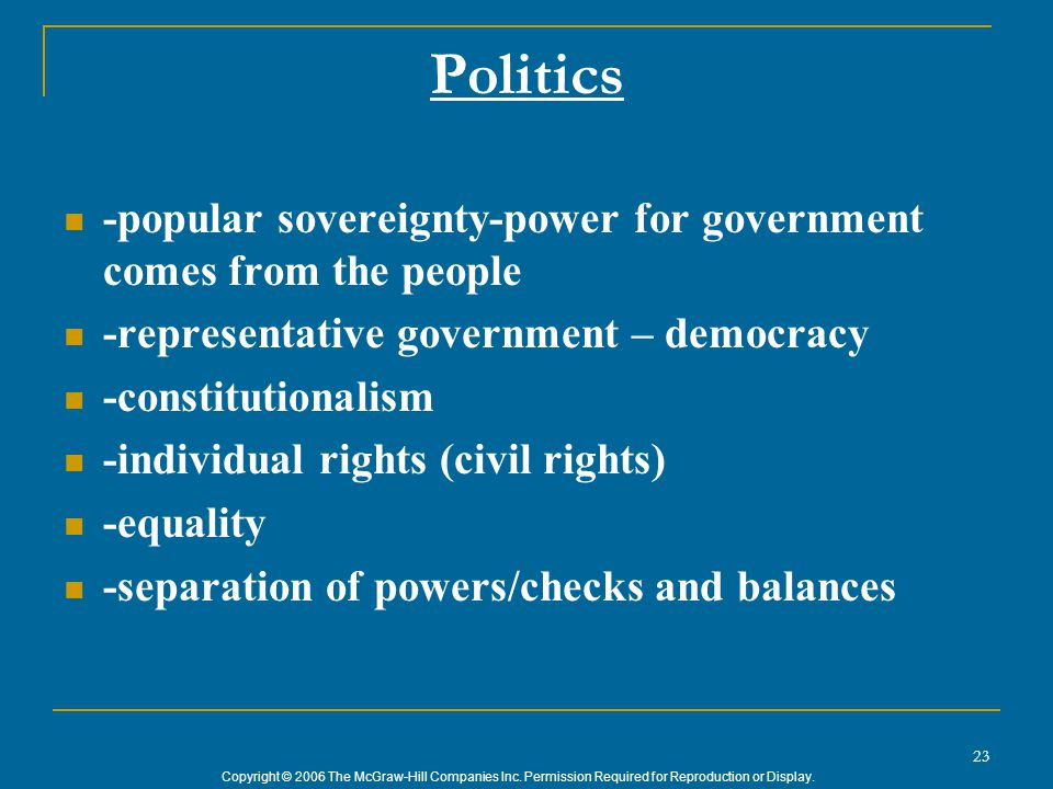 Copyright © 2006 The McGraw-Hill Companies Inc. Permission Required for Reproduction or Display. 23 Politics -popular sovereignty-power for government