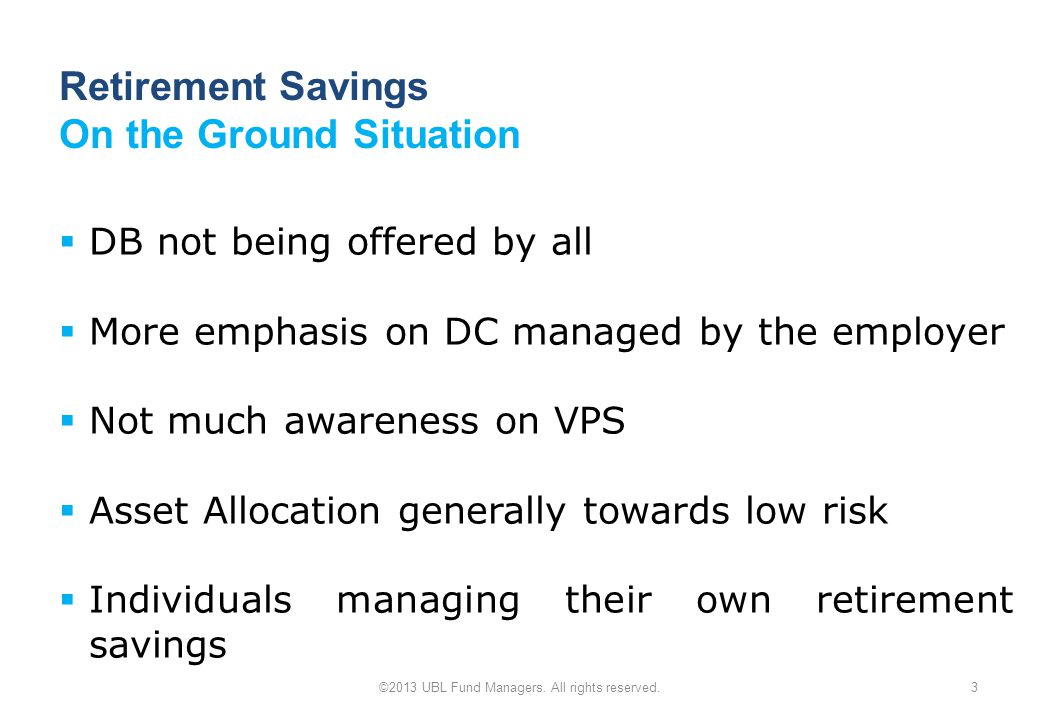 Retirement Savings On the Ground Situation ©2013 UBL Fund Managers.