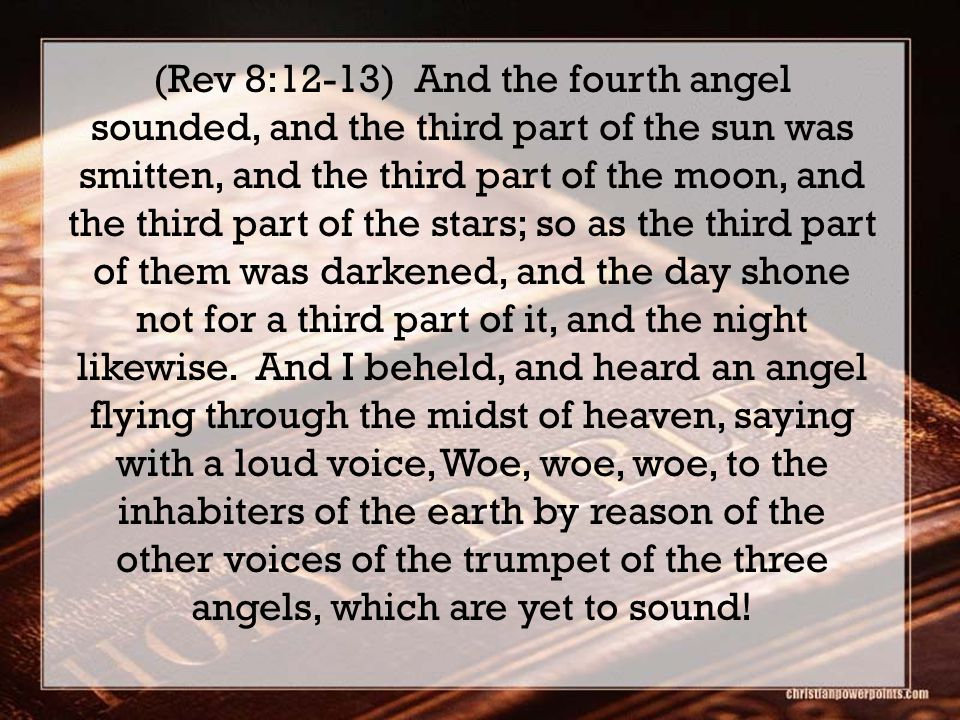 (Rev 8:12-13) And the fourth angel sounded, and the third part of the sun was smitten, and the third part of the moon, and the third part of the stars; so as the third part of them was darkened, and the day shone not for a third part of it, and the night likewise.