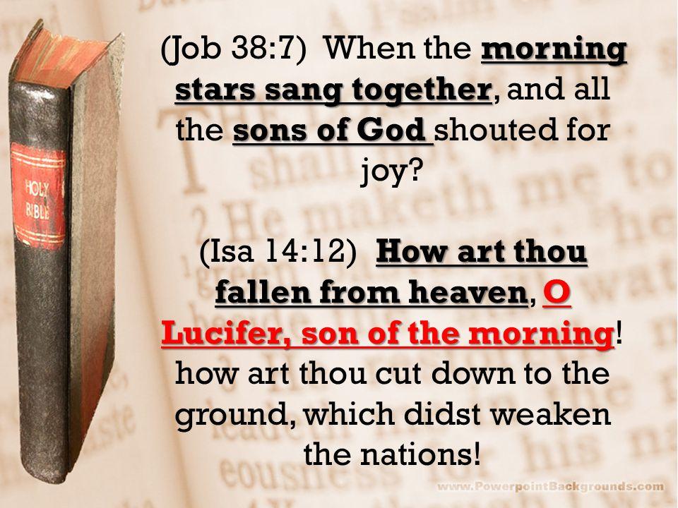 morning stars sang together sons of God (Job 38:7) When the morning stars sang together, and all the sons of God shouted for joy.