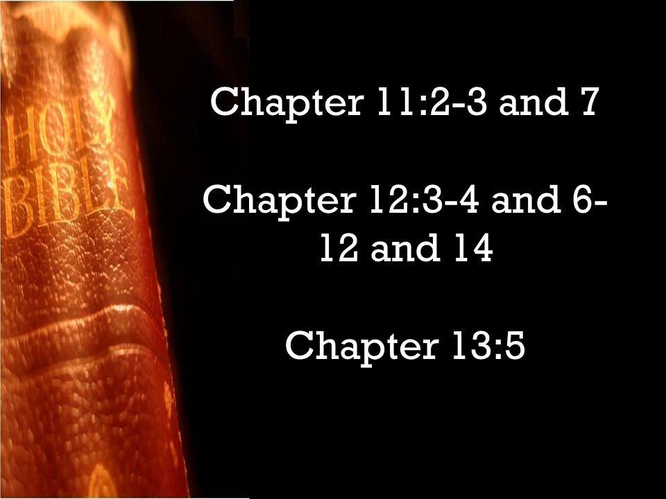 Chapter 11:2-3 and 7 Chapter 12:3-4 and 6- 12 and 14 Chapter 13:5