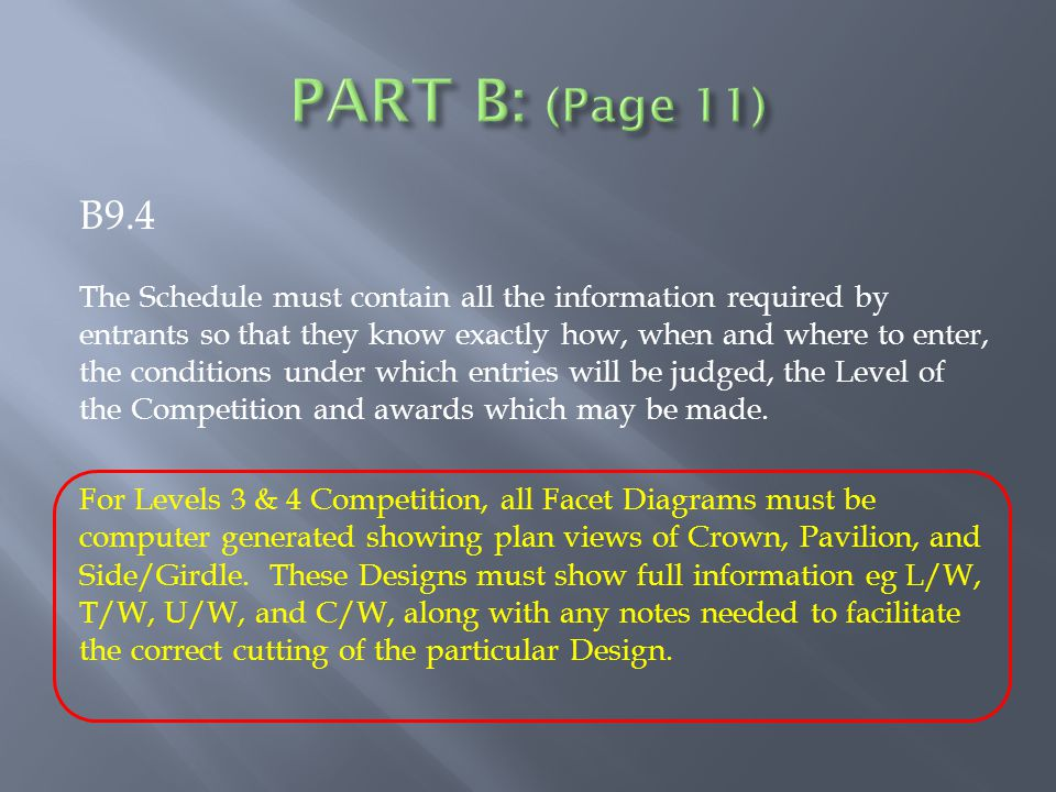 B9.4 The Schedule must contain all the information required by entrants so that they know exactly how, when and where to enter, the conditions under which entries will be judged, the Level of the Competition and awards which may be made.