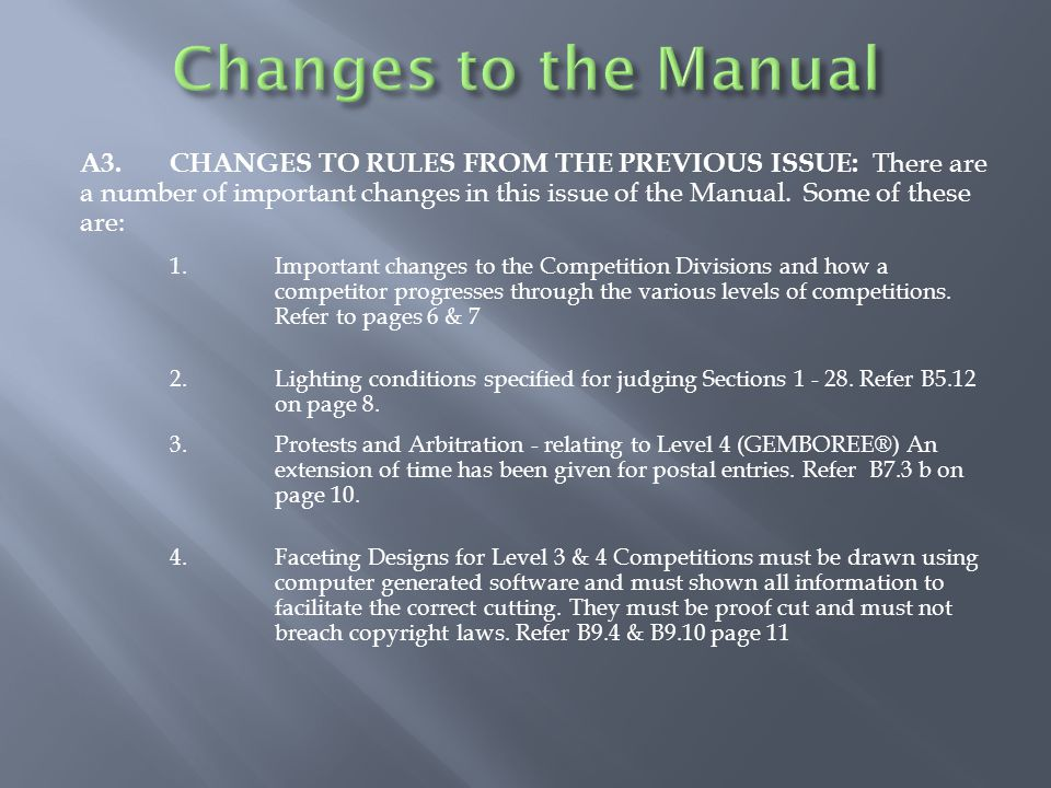 A3.CHANGES TO RULES FROM THE PREVIOUS ISSUE: There are a number of important changes in this issue of the Manual.