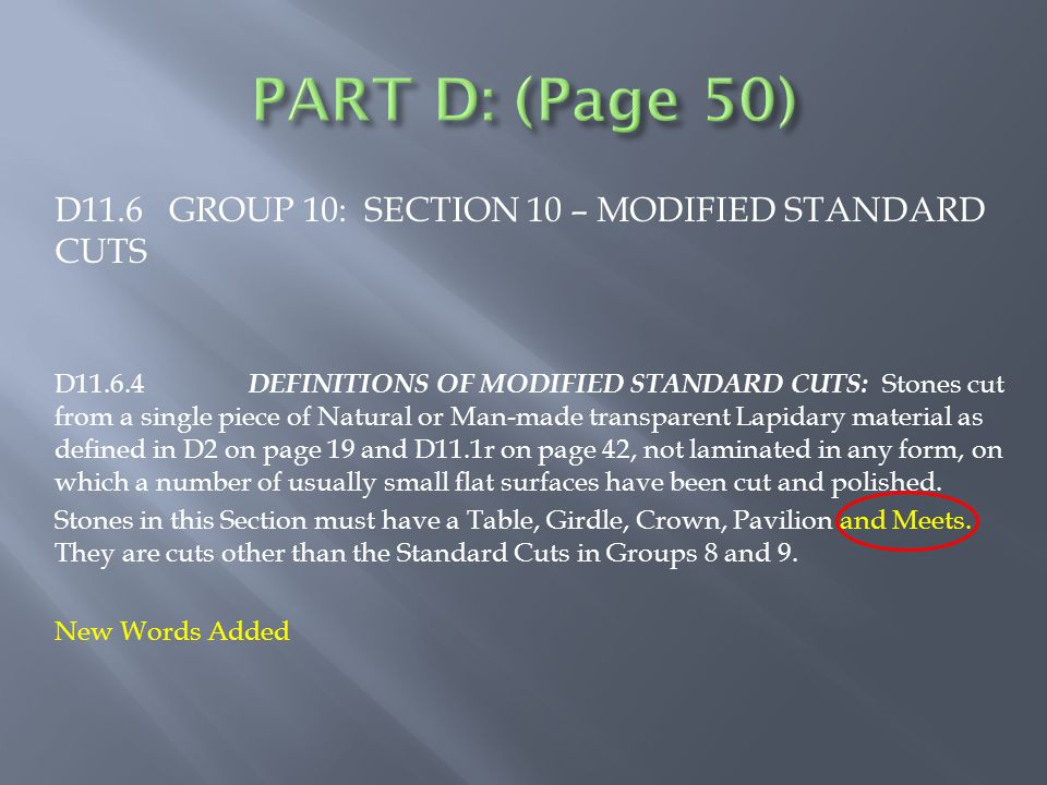 D11.6 GROUP 10: SECTION 10 – MODIFIED STANDARD CUTS D11.6.4 DEFINITIONS OF MODIFIED STANDARD CUTS: Stones cut from a single piece of Natural or Man-made transparent Lapidary material as defined in D2 on page 19 and D11.1r on page 42, not laminated in any form, on which a number of usually small flat surfaces have been cut and polished.