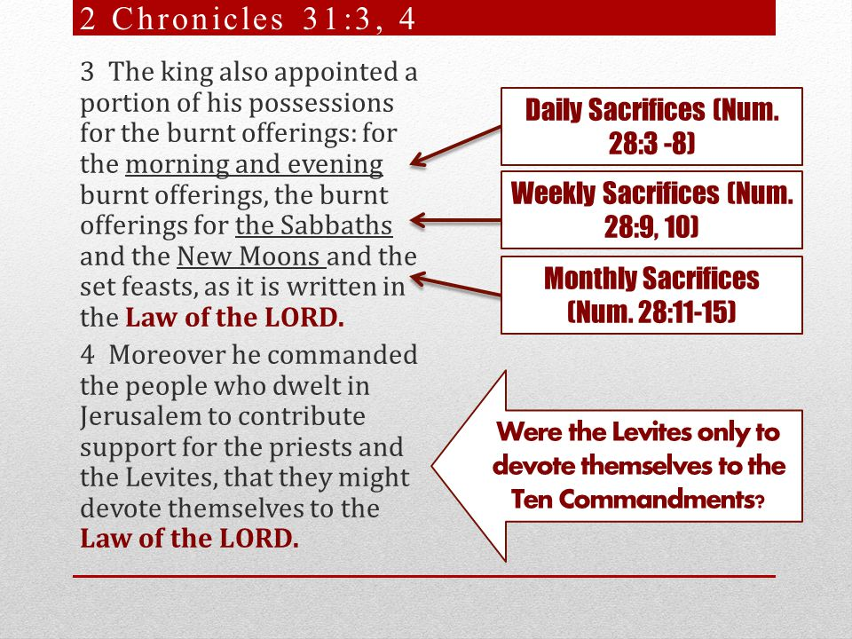 3 The king also appointed a portion of his possessions for the burnt offerings: for the morning and evening burnt offerings, the burnt offerings for the Sabbaths and the New Moons and the set feasts, as it is written in the Law of the LORD.