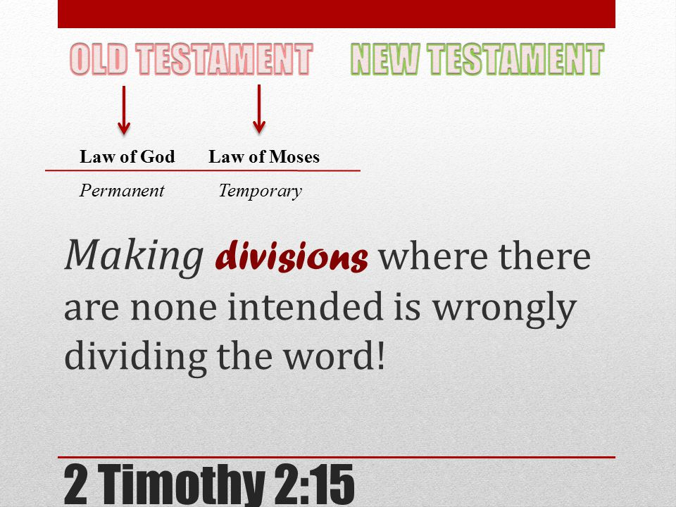 2 Timothy 2:15 Making divisions where there are none intended is wrongly dividing the word.