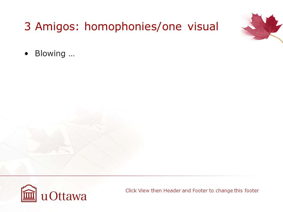 3 Amigos: homophonies/one visual Blowing … Click View then Header and Footer to change this footer