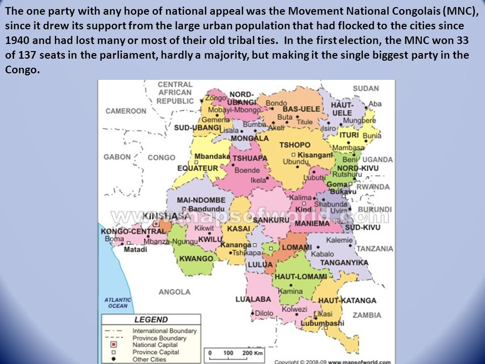 The one party with any hope of national appeal was the Movement National Congolais (MNC), since it drew its support from the large urban population th