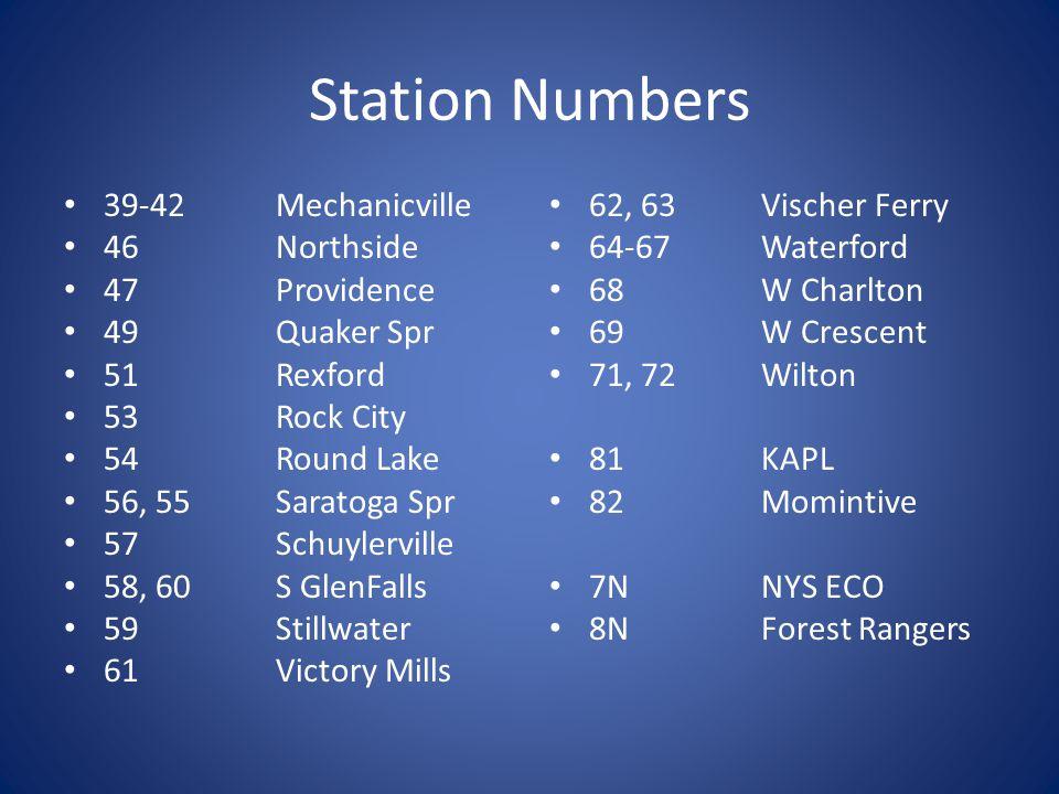 Station Numbers 10, 11Arvin Hart 12Ballston Lake 13, 14Ballston Spa 16, 17Burnt Hills 18Charlton 19Clifton Park 21, 20Corinth 22Edinburg 23Galway 24Ga