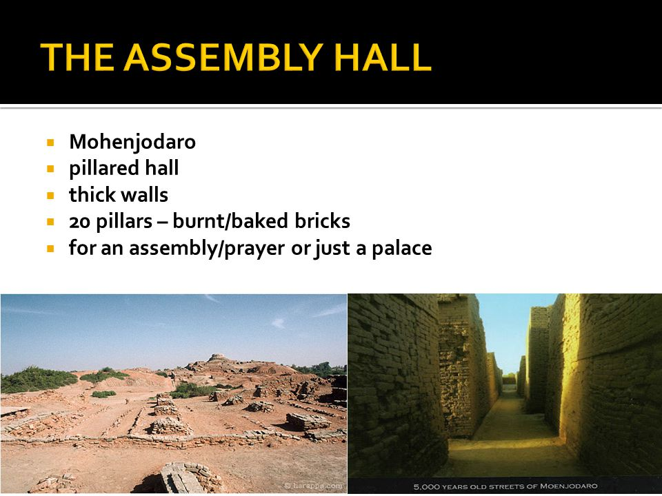  Mohenjodaro  pillared hall  thick walls  20 pillars – burnt/baked bricks  for an assembly/prayer or just a palace