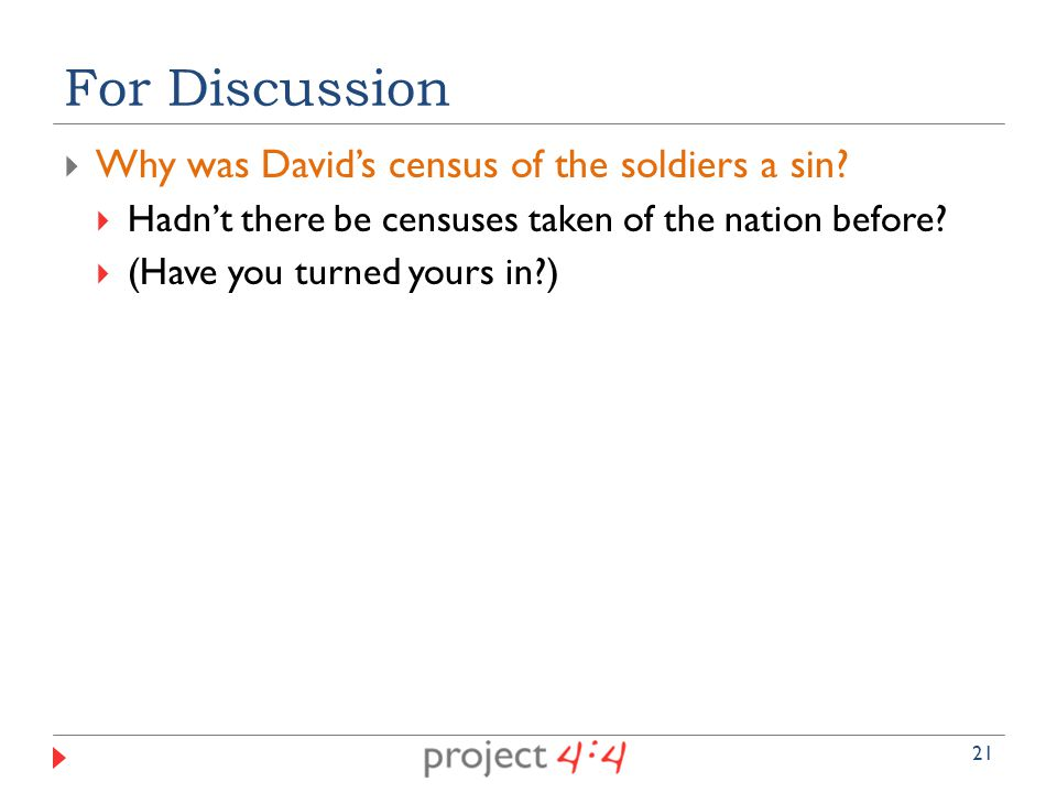  Why was David's census of the soldiers a sin.