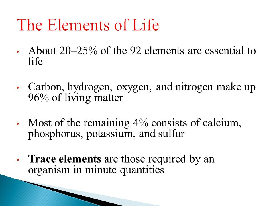 About 20–25% of the 92 elements are essential to life Carbon, hydrogen, oxygen, and nitrogen make up 96% of living matter Most of the remaining 4% con