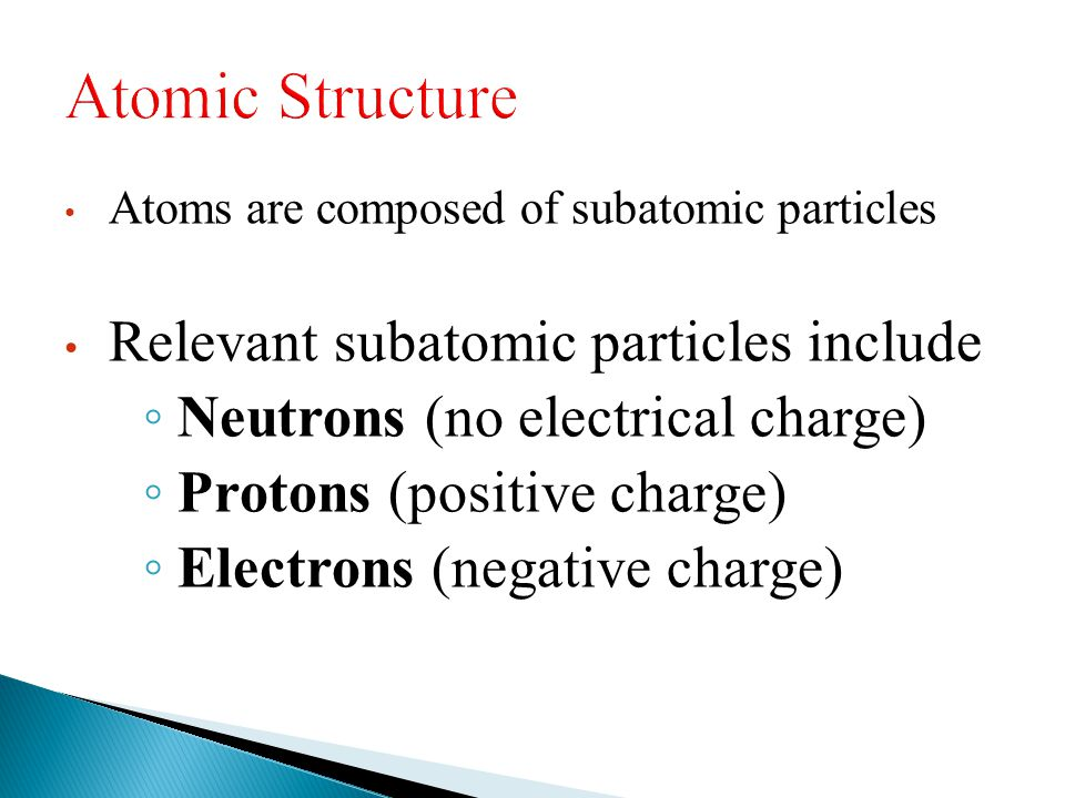 Atoms are composed of subatomic particles Relevant subatomic particles include ◦ Neutrons (no electrical charge) ◦ Protons (positive charge) ◦ Electro