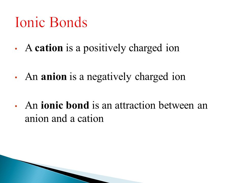 A cation is a positively charged ion An anion is a negatively charged ion An ionic bond is an attraction between an anion and a cation