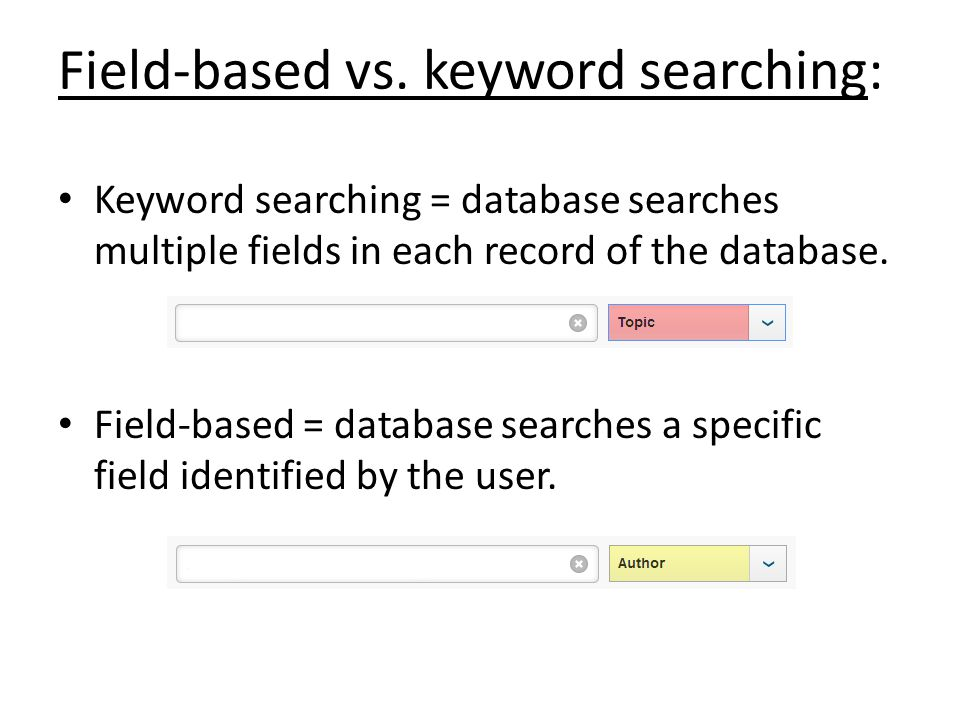 Field-based vs. keyword searching: Keyword searching = database searches multiple fields in each record of the database. Field-based = database search