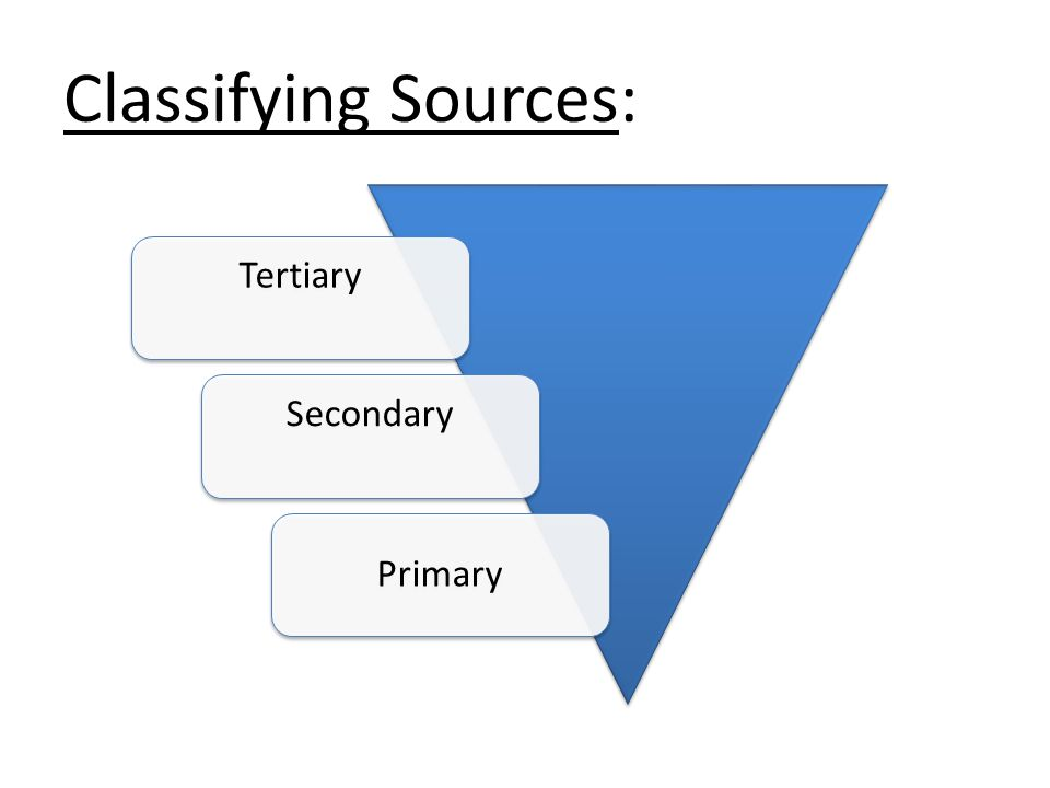 Classifying Sources: TertiarySecondary Primary