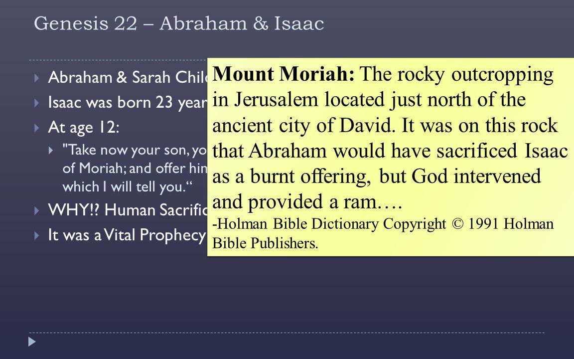 Genesis 22 – Abraham & Isaac  Abraham & Sarah Childless.  Isaac was born 23 years later.  At age 12: 