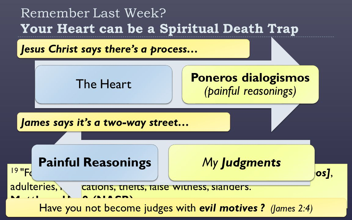 19 For out of the heart come evil thoughts [poneros dialogismos], adulteries, fornications, thefts, false witness, slanders. Matthew 15:19 (NASB) Remember Last Week.