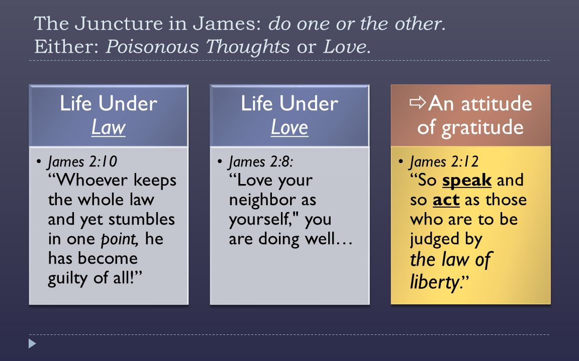 The Juncture in James: do one or the other. Either: Poisonous Thoughts or Love.