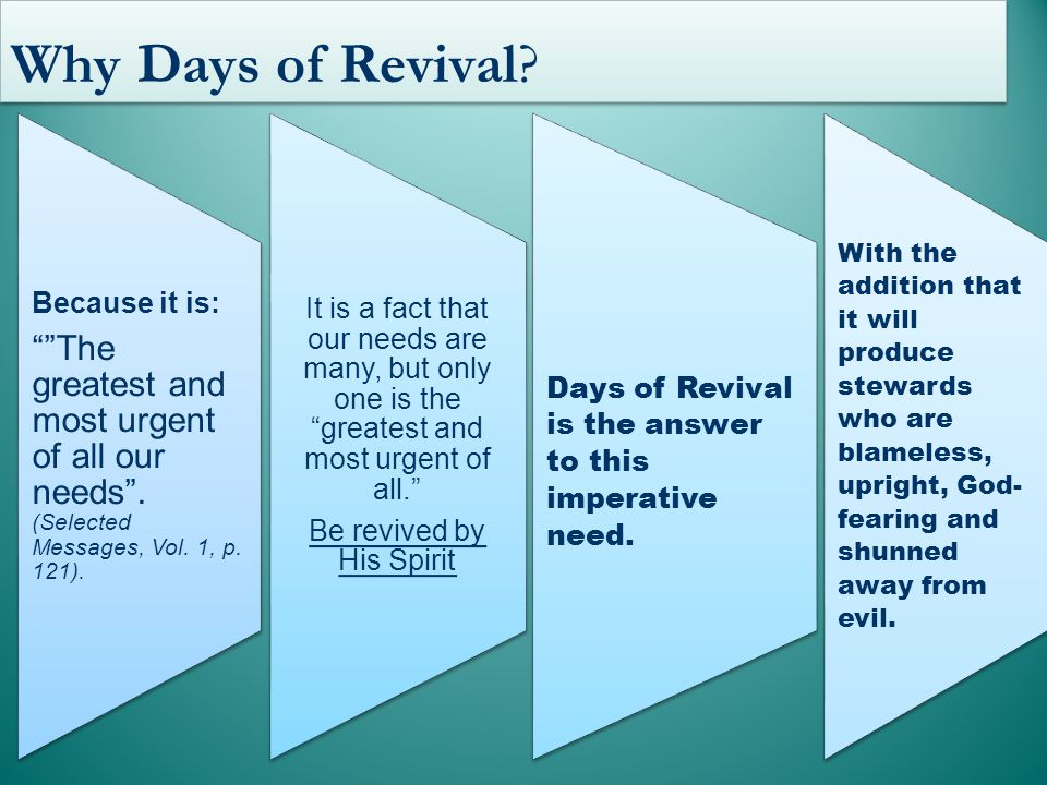 Why Days of Revival. Because it is: The greatest and most urgent of all our needs .
