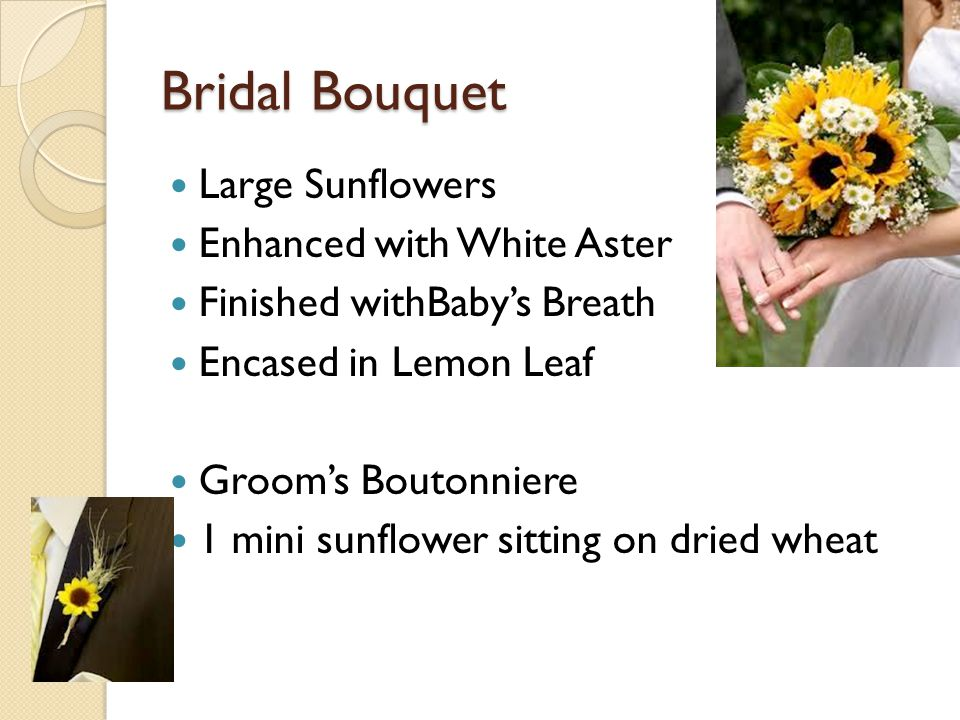 Bridal Bouquet Large Sunflowers Enhanced with White Aster Finished withBaby's Breath Encased in Lemon Leaf Groom's Boutonniere 1 mini sunflower sittin