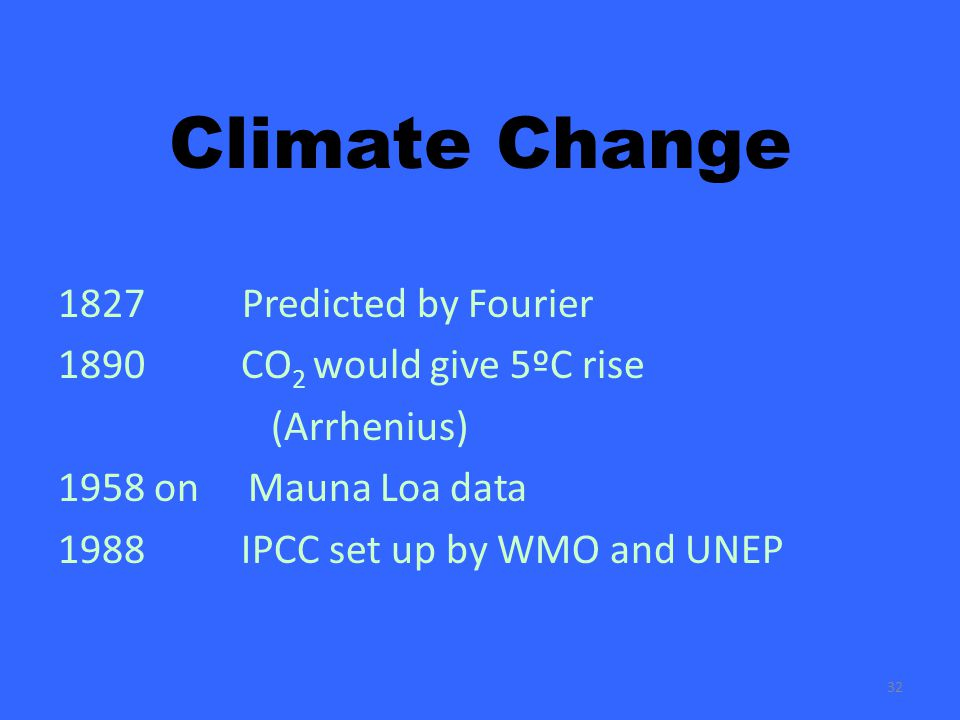 32 Climate Change 1827 Predicted by Fourier 1890 CO 2 would give 5ºC rise (Arrhenius) 1958 on Mauna Loa data 1988 IPCC set up by WMO and UNEP