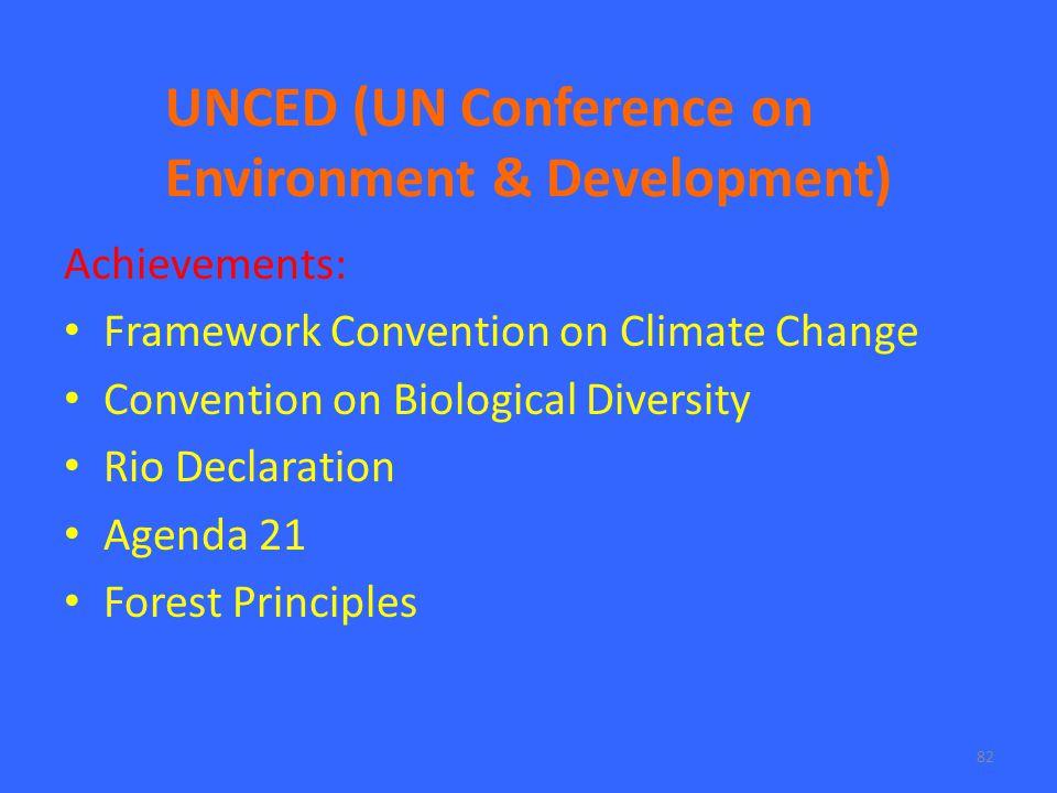 82 UNCED (UN Conference on Environment & Development) Achievements: Framework Convention on Climate Change Convention on Biological Diversity Rio Declaration Agenda 21 Forest Principles