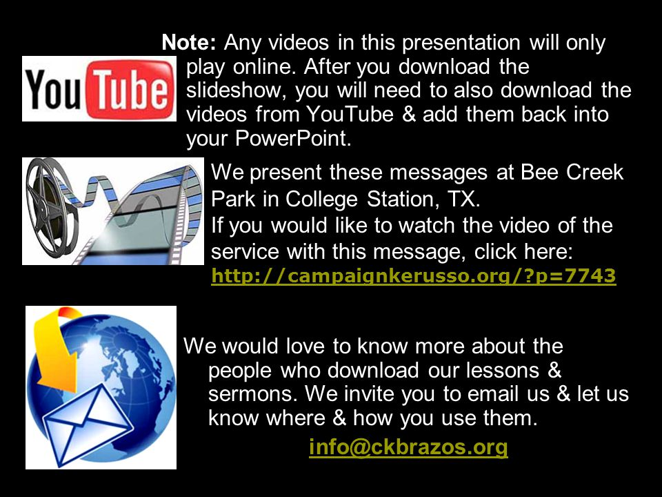 Note: Any videos in this presentation will only play online.