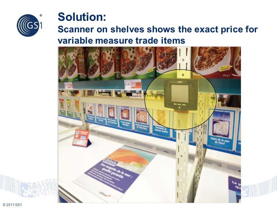 © 2011 GS1 Solution: Scanner on shelves shows the exact price for variable measure trade items